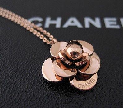 camellia Chanel 14K rose gold necklace