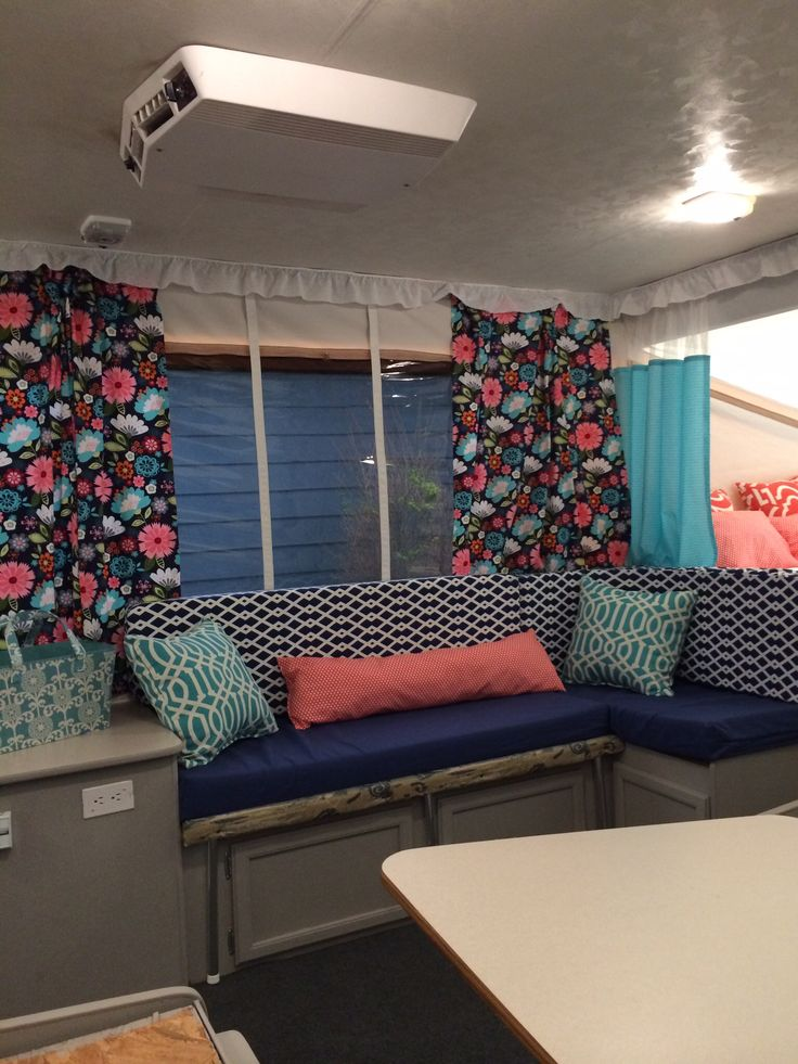 Pop up camper remodel- so love these patterns and colors :)