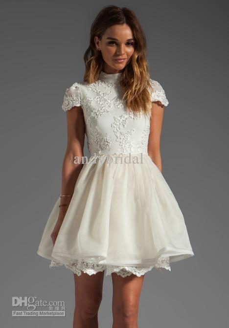 Elegant A line Party Dresses High Neck Short Sleeves Open Back Lace Appliques Short/Mini Cocktail Dresses 2013