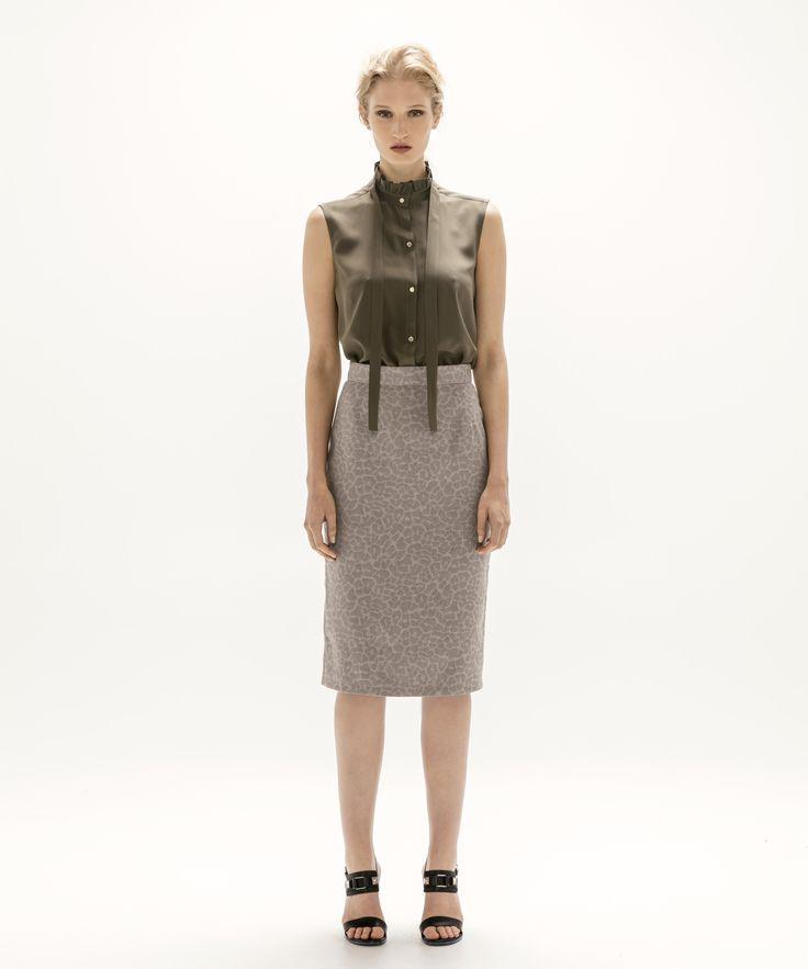 Lana Blouse - Khaki and Pencil Skirt - Grey