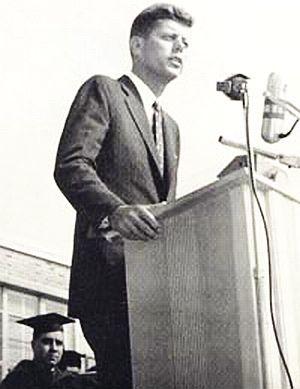 Senator John F. Kennedy speaking at Assumption College, Worcester, MA. ~ October 2, 1958.