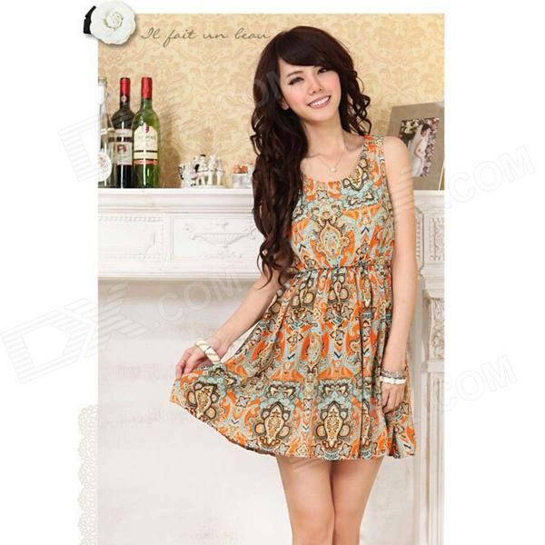 Color: Yellow; Size: L; Quantity: 1 Piece; Shade Of Color: Yellow; Material: Chiffon; Style: Fashion; Waist Girth: 66~86 cm; Hip Girth: No cm; Total Length: 83 cm; Suitable for Height: 155~170 cm; Packing List: 1 x Dress; http://j.mp/1toPC2K