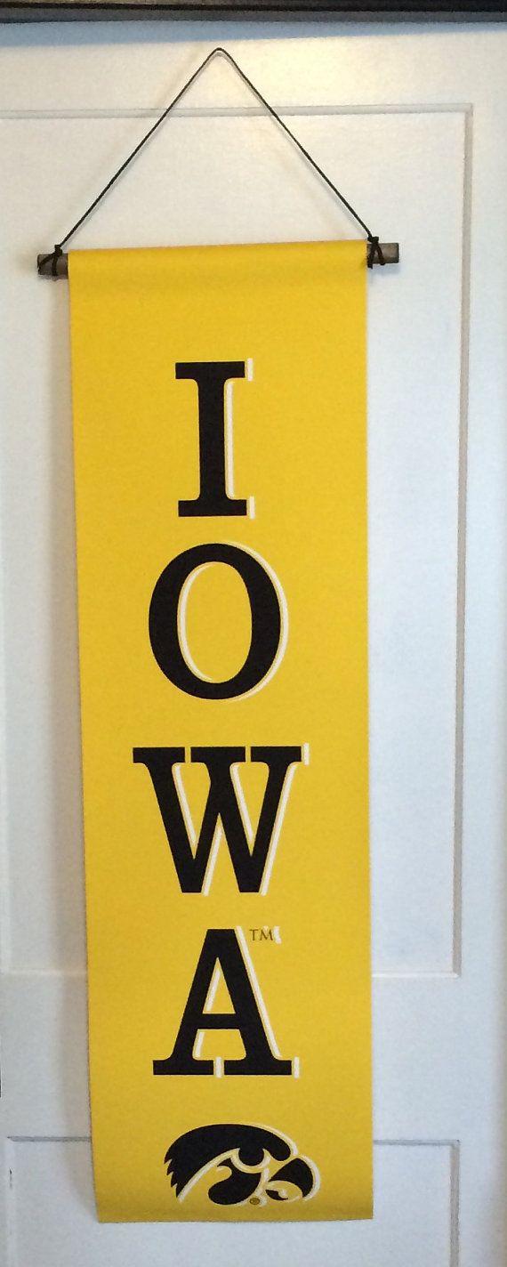 Iowa Hawkeye Tigerhawk Canvas Banner, Garden Flag, Man Cave Decor, Christmas Gift, Father's Day, Iowa Hawkeye Wrestling, Basketball