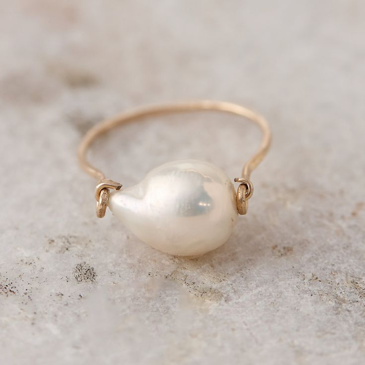 Baroque Pearl Ring, White