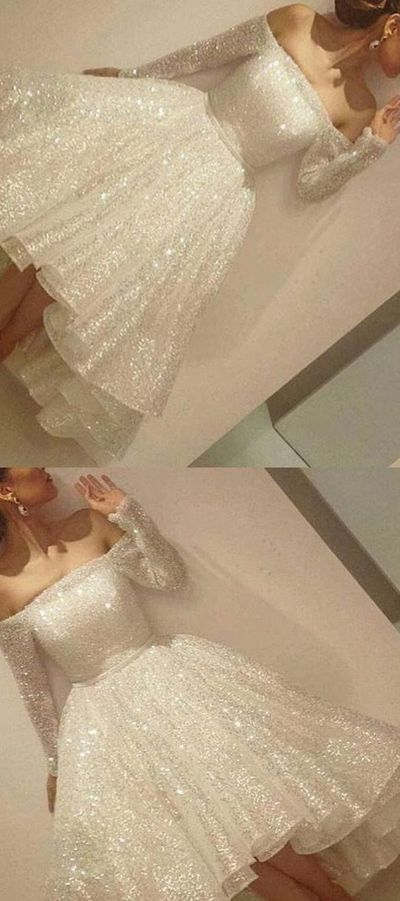White Sequin Long Sleeves Off-the-shoulder Asymmetrical Short Prom Dress Party Dress H01395