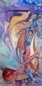 """Violin"", Oil on Canvas, W: 310mm x H: 610mm, W: 12"" x H: 24"""