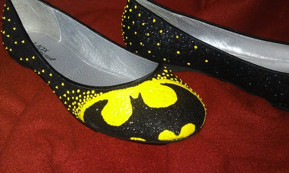 Movie Madness Shoes Batman by strollingcanvases on Etsy, $28.00