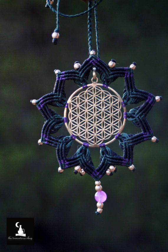 Check out this item in my Etsy shop https://www.etsy.com/listing/240475305/flower-of-life-macrame-pendant-amethyst