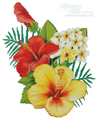 Hibiscus Arrangement 2 cross stitch chart