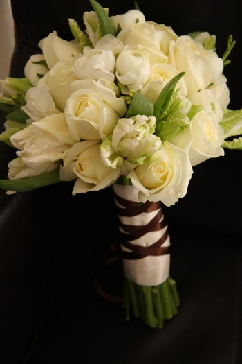 #White Tulips Bridal Bouquet love the flowers hate the brown ribbon