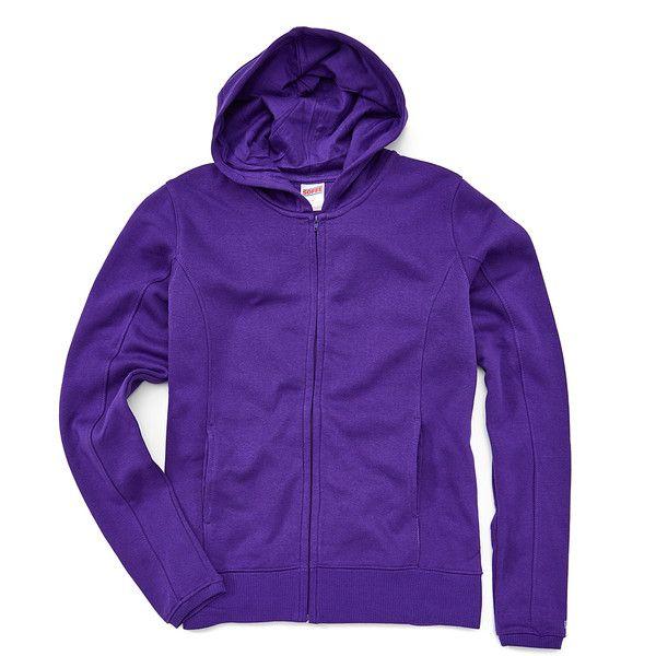 Soffe Purple Fleece Zip-Up Hoodie ($9.99) ❤ liked on Polyvore featuring tops, hoodies, plus size, long zip up hoodie, purple hoodie, long hooded sweatshirt, women's plus size tops and plus size zip up hoodies
