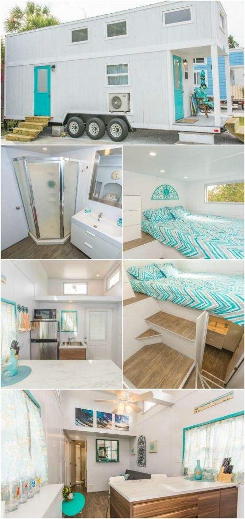 """Rent this Coastal 300 Square Foot Tiny House in Sarasota, Florida - Tiny Siesta rental resort in Sarasota, Florida is a charming coastal community that rents tiny houses to visitors. One of their homes is the """"Sand Dollar"""", a 300 square foot tiny house that has two bedrooms and plenty of room for a family to enjoy their vacation within steps of the Siesta Key Beach."""