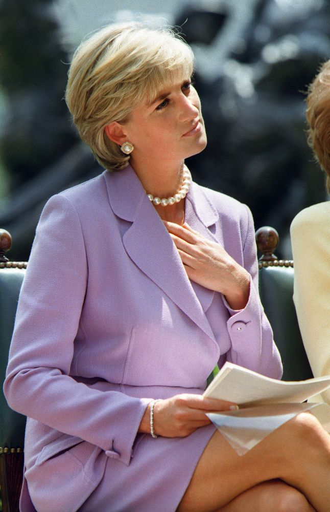 June 17, 1997: Diana, Princess of Wales working with the President of the American Red Cross, Elizabeth Dole at the Red Cross Headquarters in Washington, D.C. in a campaign to ban landmines.