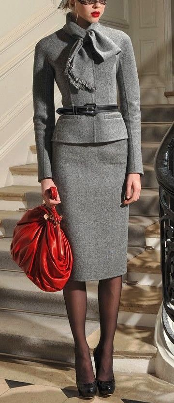 Tailored Grey with a pop of RED