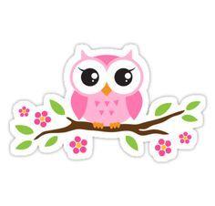Un lindo, búho del dibujo animado rosado que se sienta en una rama con flores y hojas verdes. pegatina de la diversión. • Also buy this artwork on stickers.