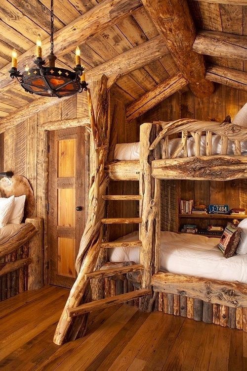 Beautiful Kids Log Room with cool Bunk Beds made outta of Logs and an amazing Chandelier Similar to another Kids Log Bedroom ✤✤✤
