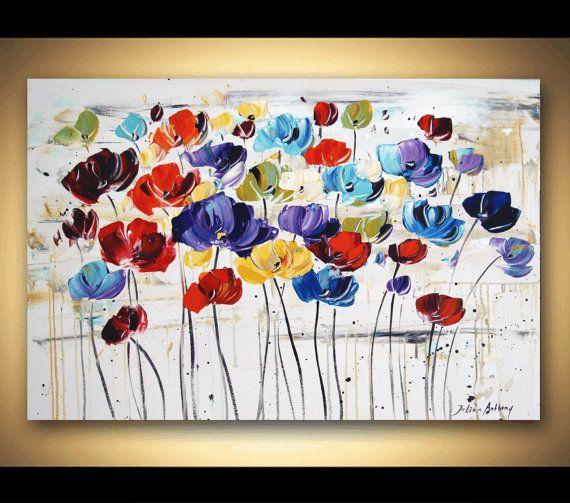 Painting 36 Flower Poppys Original painting by jolinaanthony, $279.00