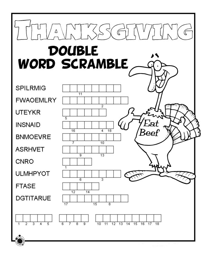 Free Printable Thanksgiving Word Puzzles