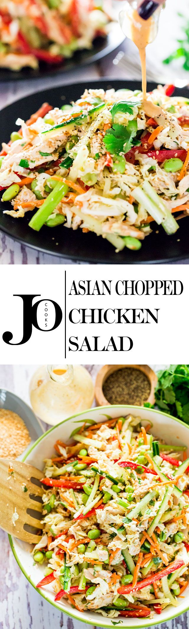 Asian Chopped Chicken Salad - a simple chopped salad with chicken and loaded with veggies and great big flavors from a homemade dressing.