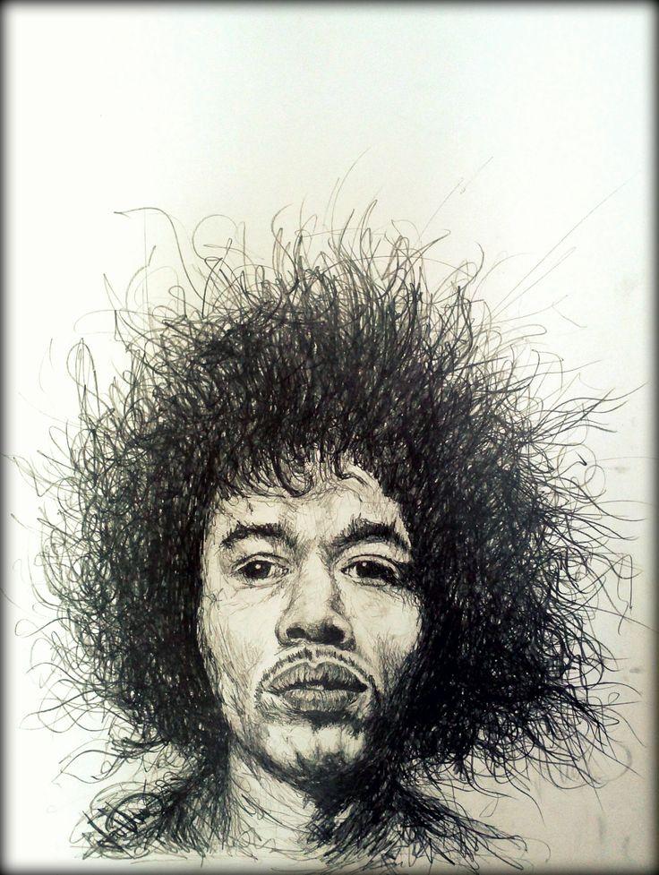 Jimi Hendrix 1#pencil scribbled /A1
