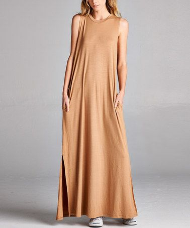 Another great find on #zulily! Camel Pocket Maxi Dress #zulilyfinds
