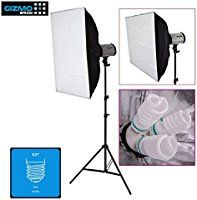 Digital Still/Product Photography Video Continuous Softbox Lighting Light Kit (DIY) with Stand, 3Holders/Sockets can use LED/CFL/Bulbs, for Chroma Key Effects, Video Blogging