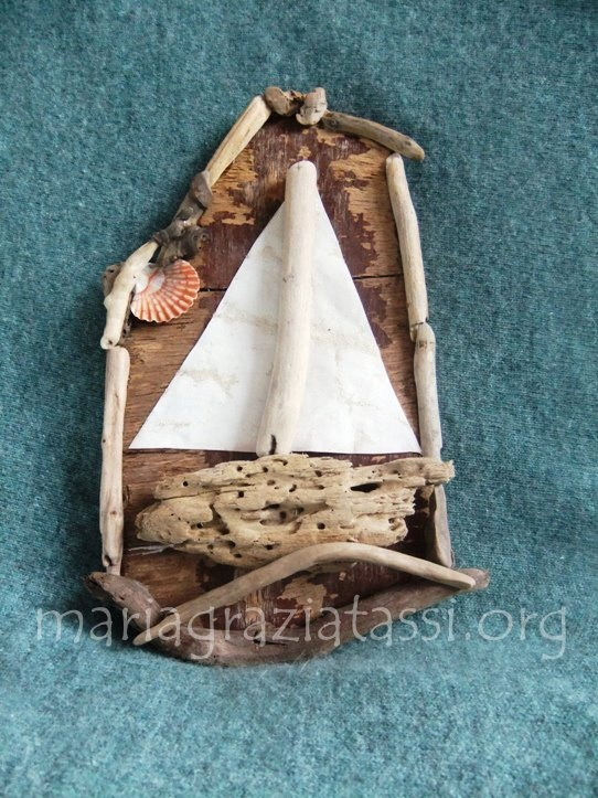 sailing boat made by driftwoods