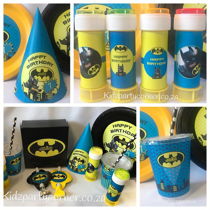 Lego Batman party theme supplies, favours and decor. We design and create any theme for any occasion and age customised according to your specifications. Door to door courier country wide at affordable prices - unique and convenient. Styling and set-up packages available in Pretoria and Johannesburg at you own venue or at one of our Alberton venues. Visit our website www.kidzpartycorner.co.za or email Info@kidzpartycorner.co.za for more details