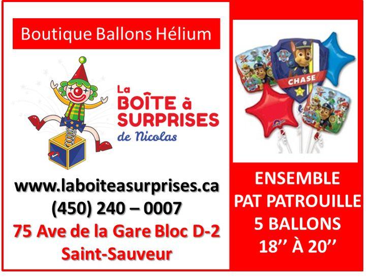 Kit de Ballons Aluminium de la Pat Patrouille #patpatrouille Hélium dans la Boutique de St-Sauveur #stsauveur 450-240-0007 info@laboiteasurprises.ca