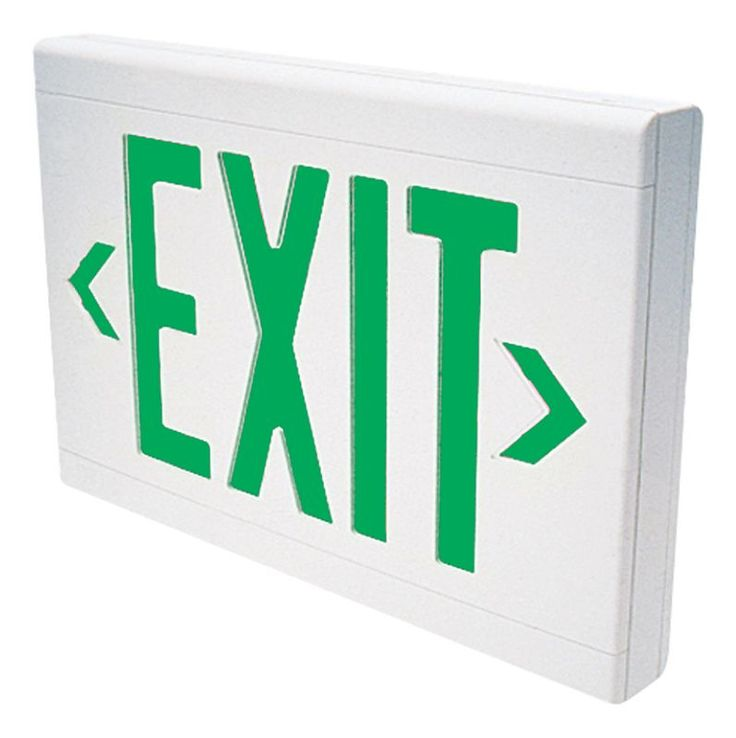 Dual-Lite LXUGWE LED Green Emergency Exit Sign - Battery Included White Commercial Lighting Emergency Lights Exit Signs
