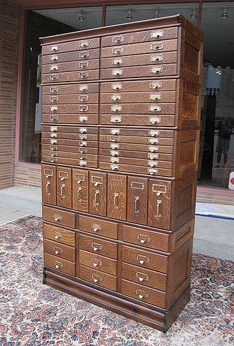 Oak Stacking File Cabinet   Job Case (probably From A Typesetter)