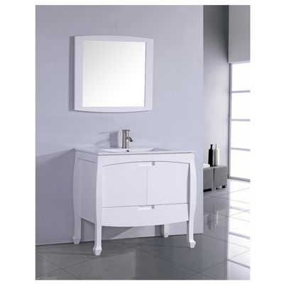 Legion 30 Inch Contemporary Single Sink Bathroom Vanity, White Ceramic Sink  Top, Solid Oak Wood Construction, Matching Framed Mirror Is Included