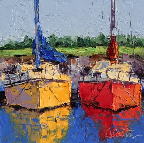 Sunbathing, original painting by artist Leslie Saeta | DailyPainters.com