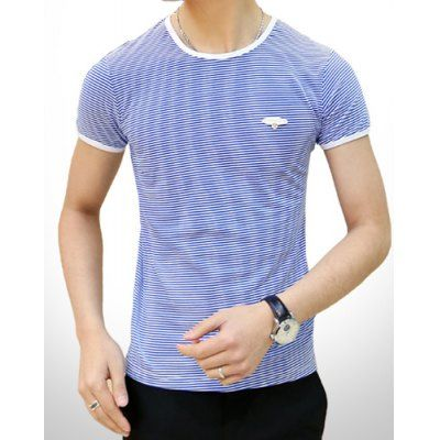 Refreshing Round Neck Slimming Classic Stripes Print Short Sleeves Men's T-Shirt-15.99 and Free Shipping| GearBest.com