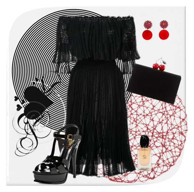 Untitled #39 by tatyxavier1980 on Polyvore featuring polyvore fashion style Alexander McQueen Yves Saint Laurent Edie Parker Marni Giorgio Armani clothing
