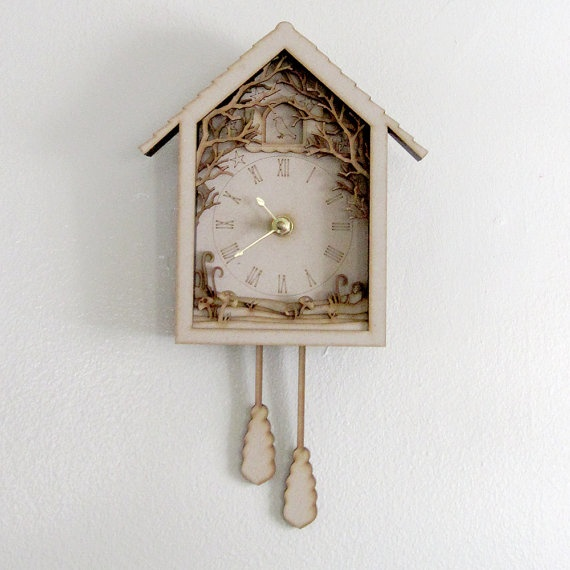 Diorama Cuckoo Clock  Laser Cut Wood Forest Night by seequin $40