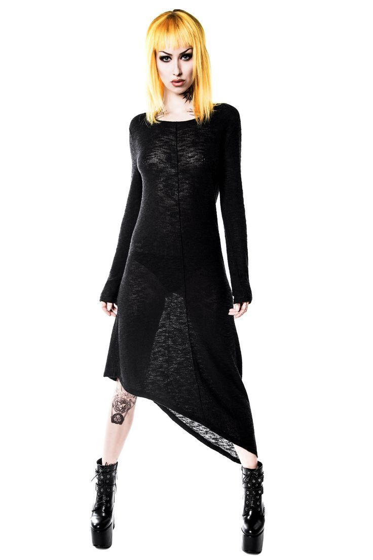 Merciless Asymmetrical Knit Dress. For all ya knit-loverz; a badass long-knit dress with wide neck, long sleeves and asymmetrical shape. #killstar, #knitdress, #allblackeverything, #grungeclothing, #gothgirl, #killstarco