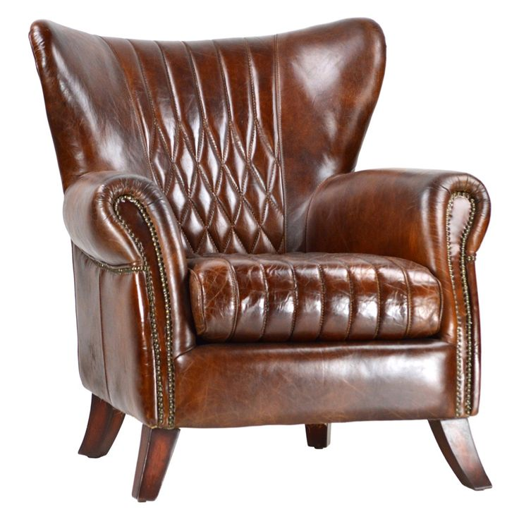 """Combining a hand finished using full grain leather. This chair features elegant diamond tufting with handsome nail head trim and rolled panel arms. In true English country-style, the Concord Leather chair evokes a cozy, historical feeling.   <BR><BR> • Leather Upholstery<BR> • Hardwood Frame<BR> • Wipe clean with a soft cloth<BR> • 34""""L x 36""""D x 35""""H<BR> <BR><strong>Return Policy</strong><BR> Due to the size of this piece this item is not eligible for returns or exchanges. Please make ..."""
