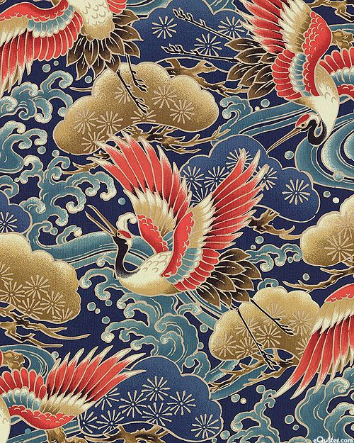 Cranes over Water - Navy Blue. Fabric from eQuilter.com