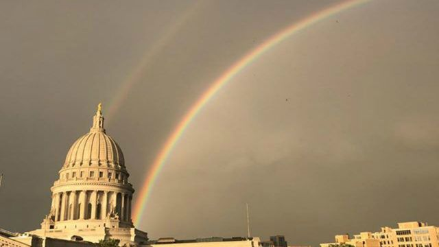 Double Rainbow over the Wis State Capitol bldg in Madison ...Channel3000.com