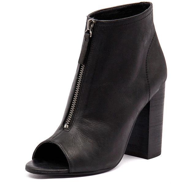 Tony Bianco Maize Black Diesel/Black Wax (230 AUD) ❤ liked on Polyvore featuring shoes, boots, ankle booties, black high heel ankle booties, leather booties, black leather ankle booties, high heel boots and faux leather boots