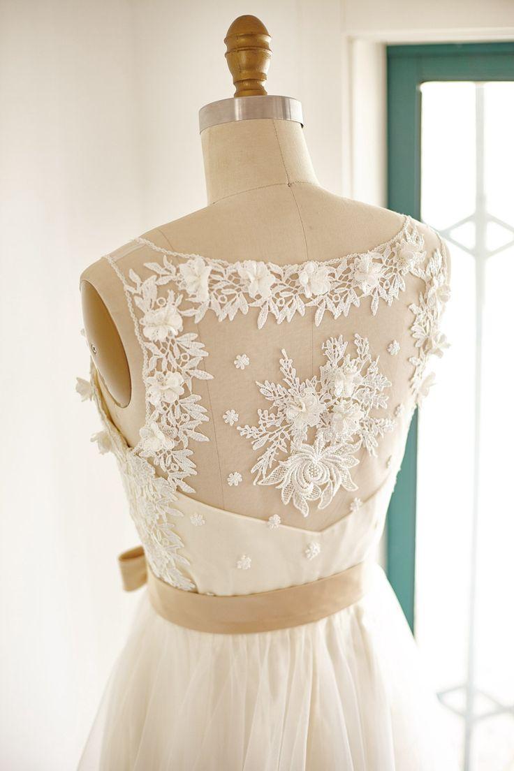 Encaje tul vestido novia vestido de novia con forro por ABoverly1