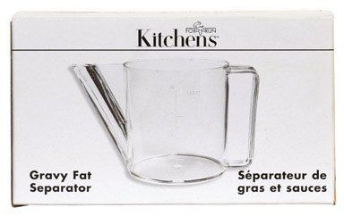Measuring Cup 1.5 CUP PLASTIC GRAVY/FAT SEPARATOR - CLEAR by Fox Run Craftsmen. $3.22. 1-1/2 cup. GRAVY SEPARATOR. Boxed. Fox Run Gravy Separator 1-1/2 Cup Boxed Discovery Acc, Sup All items sold new in original packaging. Save 58%!