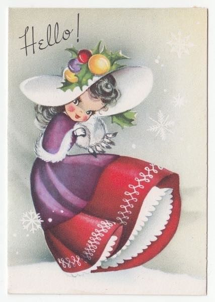 Vintage Greeting Card Christmas Cute Girl Fruit Hat Gibson Gal