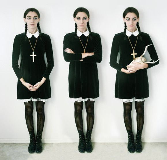 Wednesday Addams cosplay/Halloween costume, found via Buzzfeed - I actually don't celebrate Halloween and have never cosplayed, but I used to have the PERFECT dress for this if I wanted to. It was a hand-me-down and I never had occasion to wear it, so I ultimately donated it, but still.