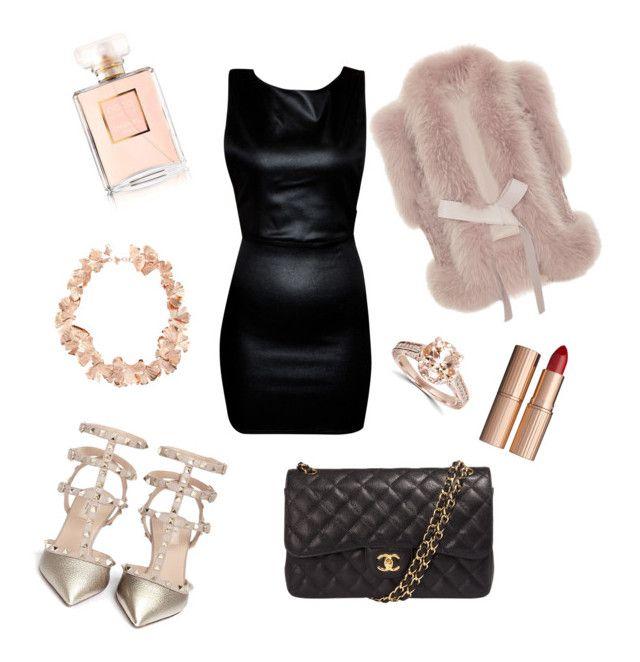 """Fancy Black & Rose Gold"" by ladyaahbeauty on Polyvore featuring Chanel, Valentino, Charlotte Tilbury, Elie Saab and Aurélie Bidermann"