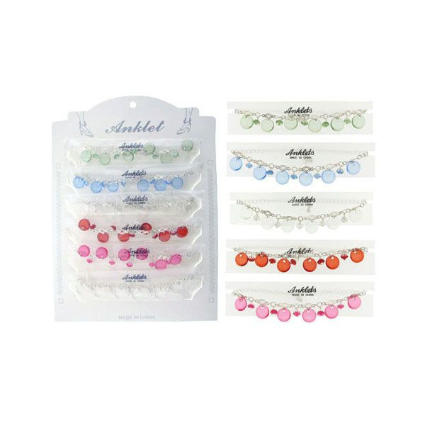Anklet w/ Colored Disc Dangles Case Pack 60