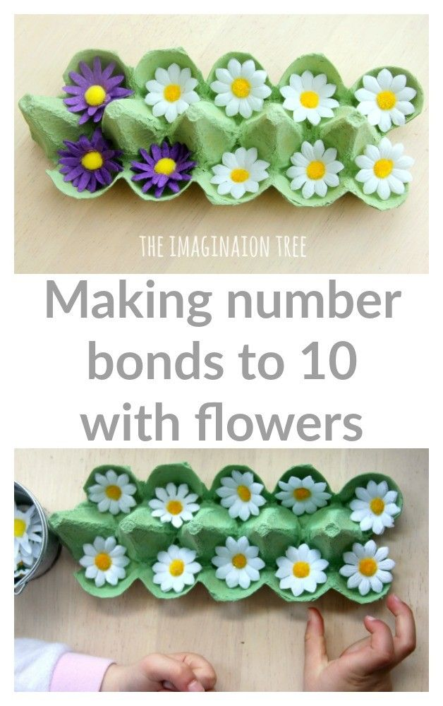 Making number bonds to 10 with two colours of flowers