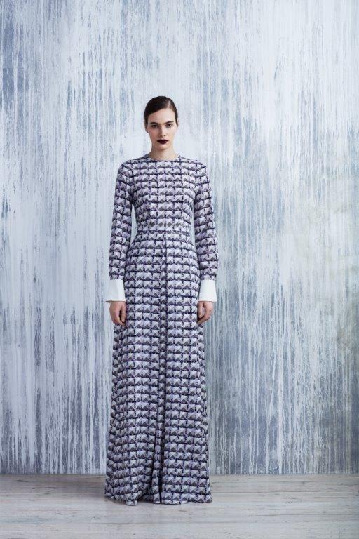 LUBLU Kira Plastinina FW14/15 digital print maxi dress with white cuffs/collar.