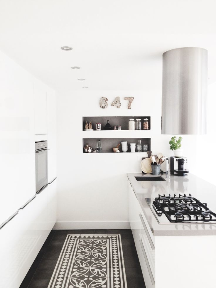 minimal white kitchen #homedecor #interiordesign - recessed wall shelves; black accents